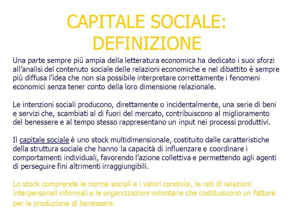 CAPITALE SOCIALE: DEFINIZIONE
