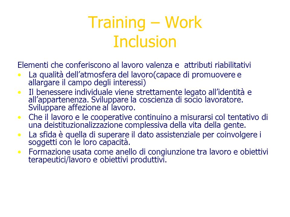 Training – Work Inclusion