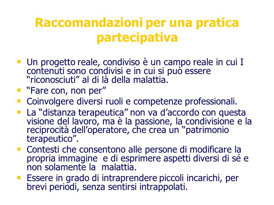 Raccomandazioni per una pratica partecipativa