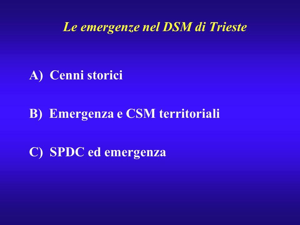 Le emergenze nel DSM di Trieste