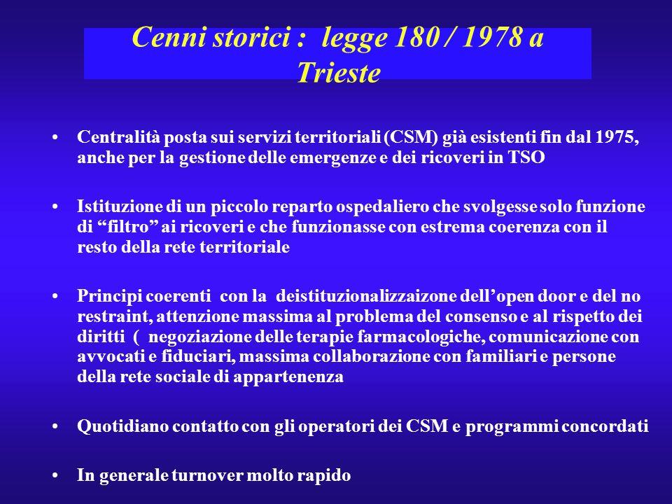 Cenni storici : legge 180 / 1978 a Trieste