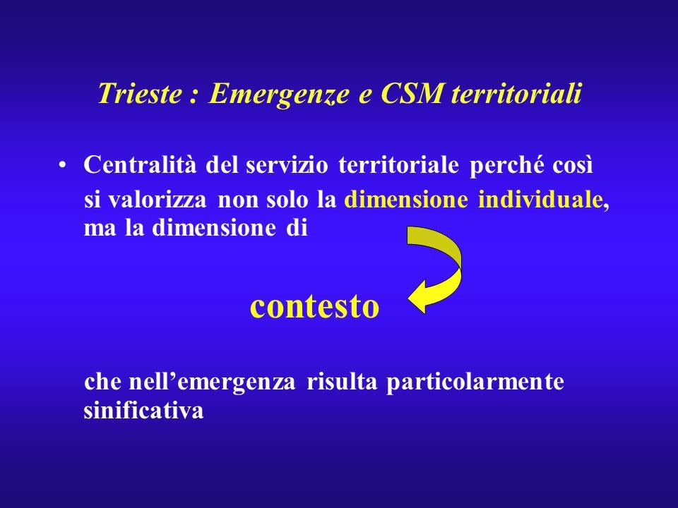 Trieste : Emergenze e CSM territoriali