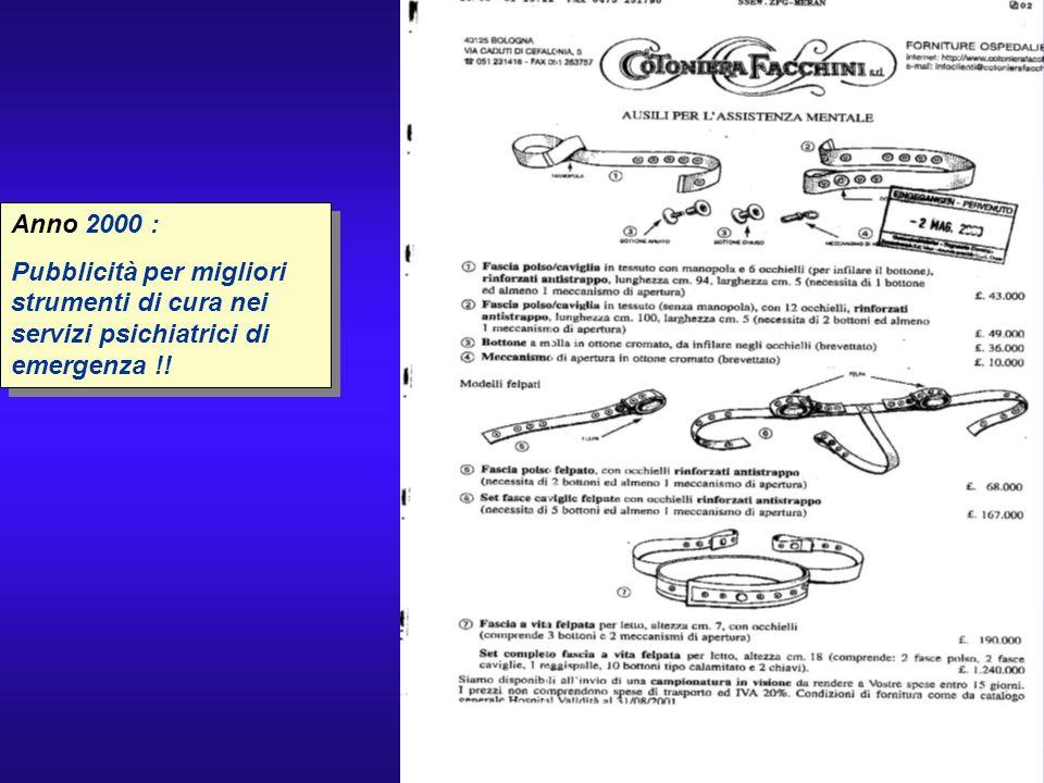 Anno 2000 : Pubblicità per migliori strumenti di cura nei servizi psichiatrici di emergenza !!