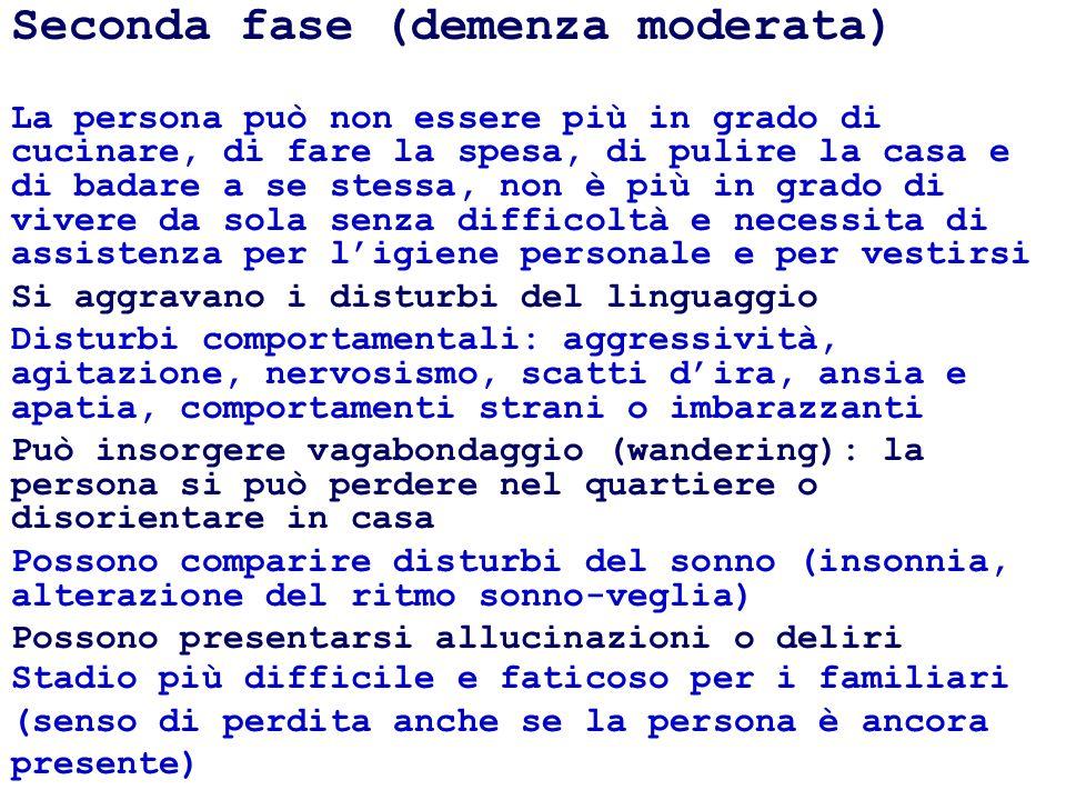 Seconda fase (demenza moderata)