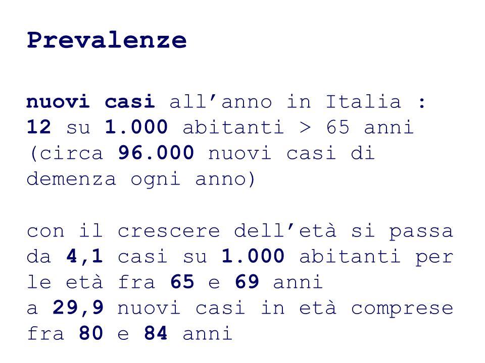 Prevalenze nuovi casi all'anno in Italia :