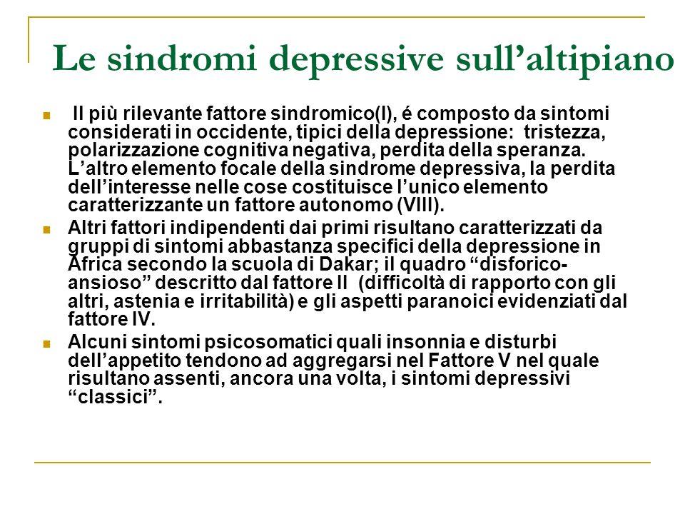 Le sindromi depressive sull'altipiano