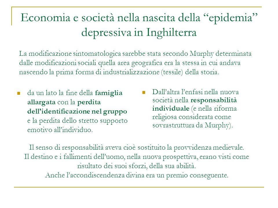 Economia e società nella nascita della epidemia depressiva in Inghilterra