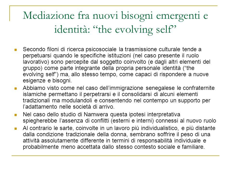 Mediazione fra nuovi bisogni emergenti e identità: the evolving self