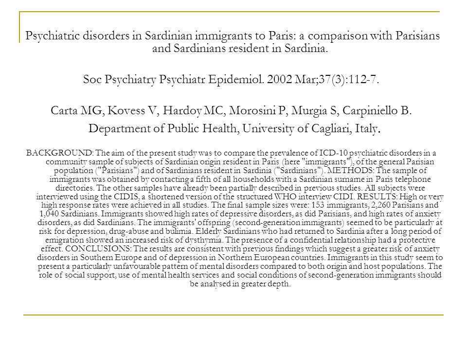 Soc Psychiatry Psychiatr Epidemiol. 2002 Mar;37(3):112-7.