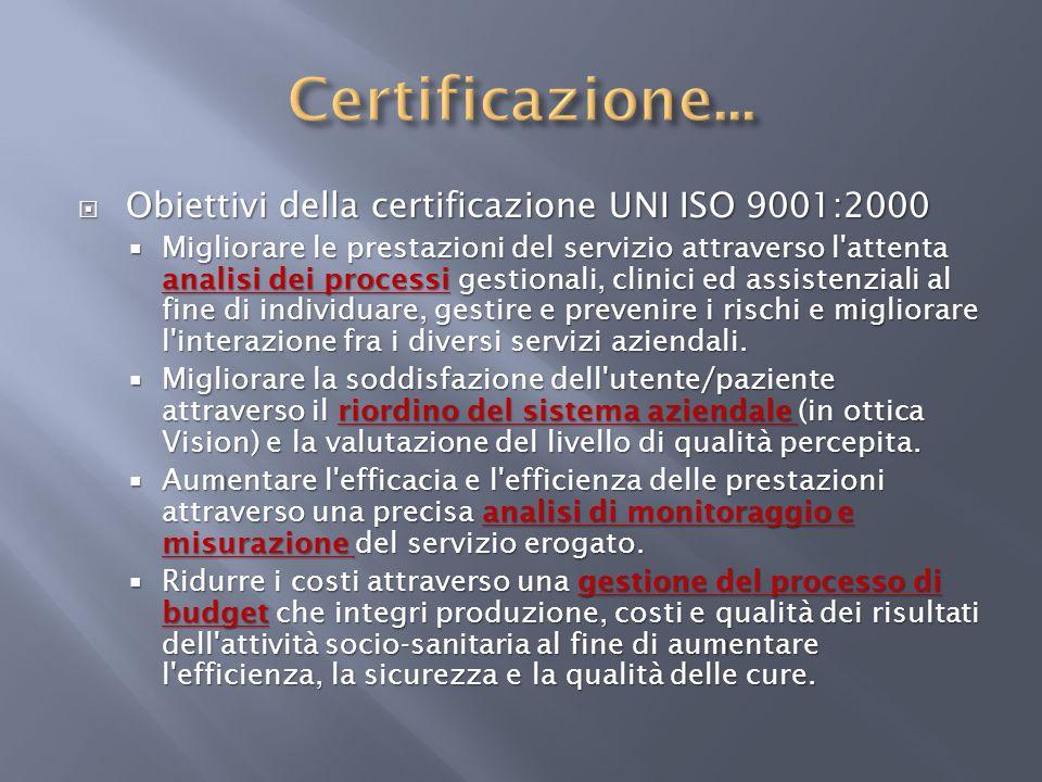 Certificazione... Obiettivi della certificazione UNI ISO 9001:2000