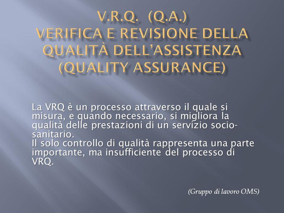 V.R.Q. (Q.A.) Verifica e revisione della qualità dell'assistenza (quality Assurance)