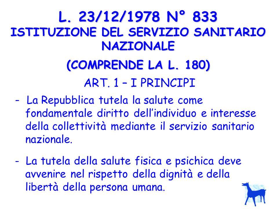 L. 23/12/1978 N° 833 ISTITUZIONE DEL SERVIZIO SANITARIO NAZIONALE (COMPRENDE LA L. 180)