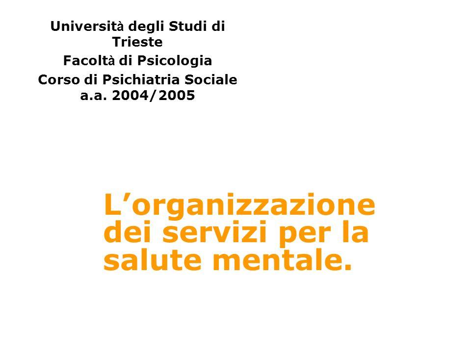 L'organizzazione dei servizi per la salute mentale.