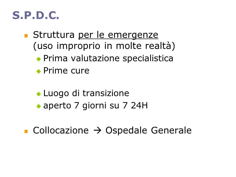 S.P.D.C. Struttura per le emergenze (uso improprio in molte realtà)