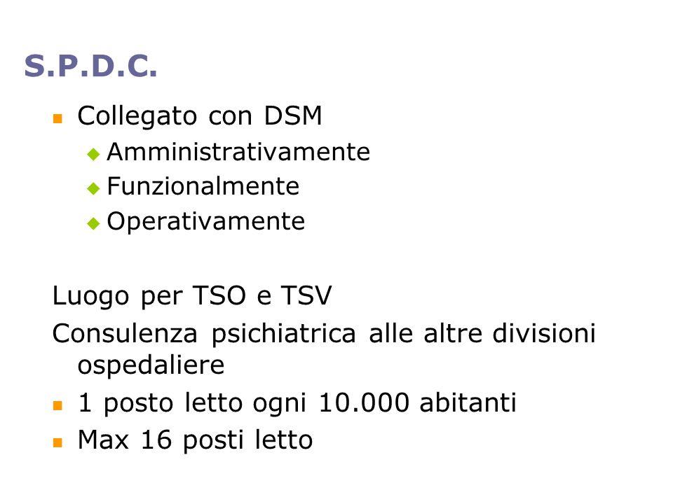S.P.D.C. Collegato con DSM Luogo per TSO e TSV