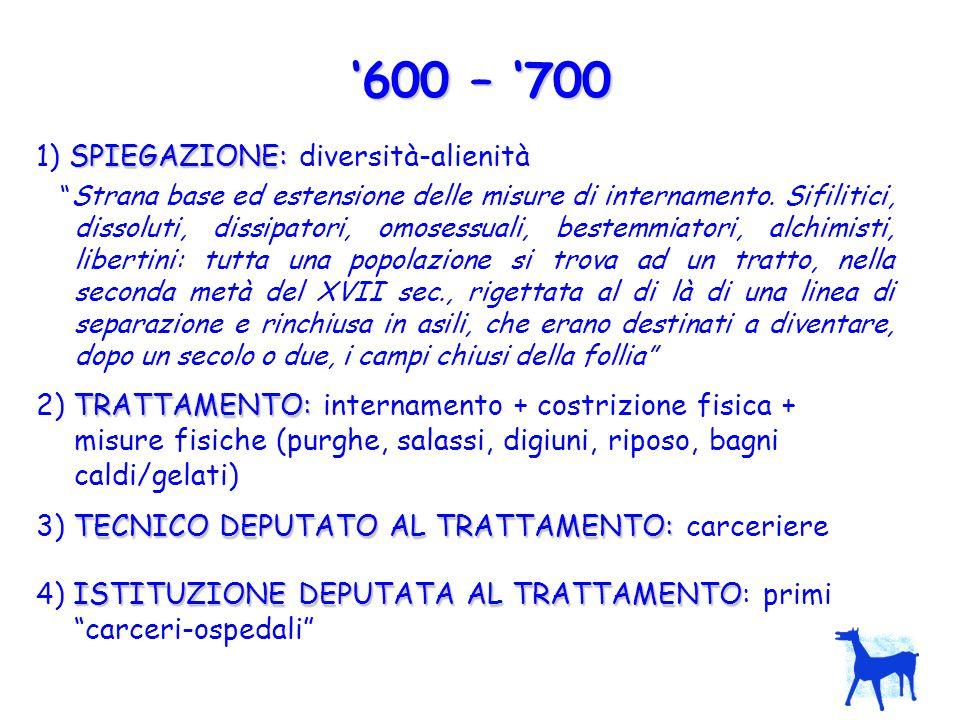 '600 – '700 1) SPIEGAZIONE: diversità-alienità