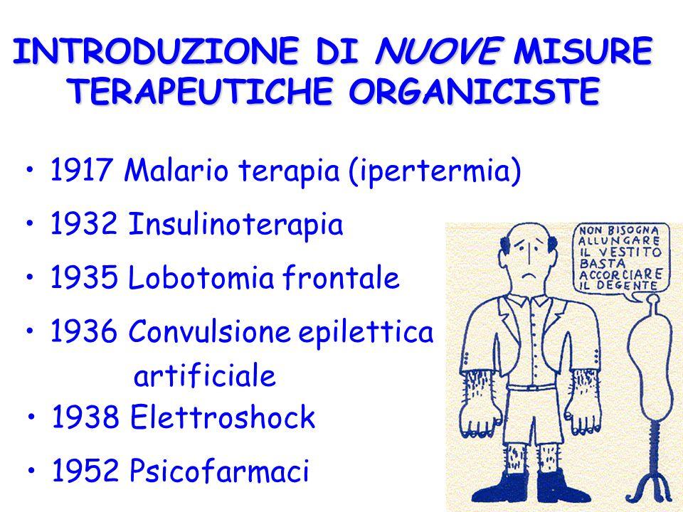 INTRODUZIONE DI NUOVE MISURE TERAPEUTICHE ORGANICISTE