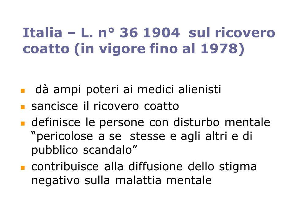 Italia – L. n° 36 1904 sul ricovero coatto (in vigore fino al 1978)