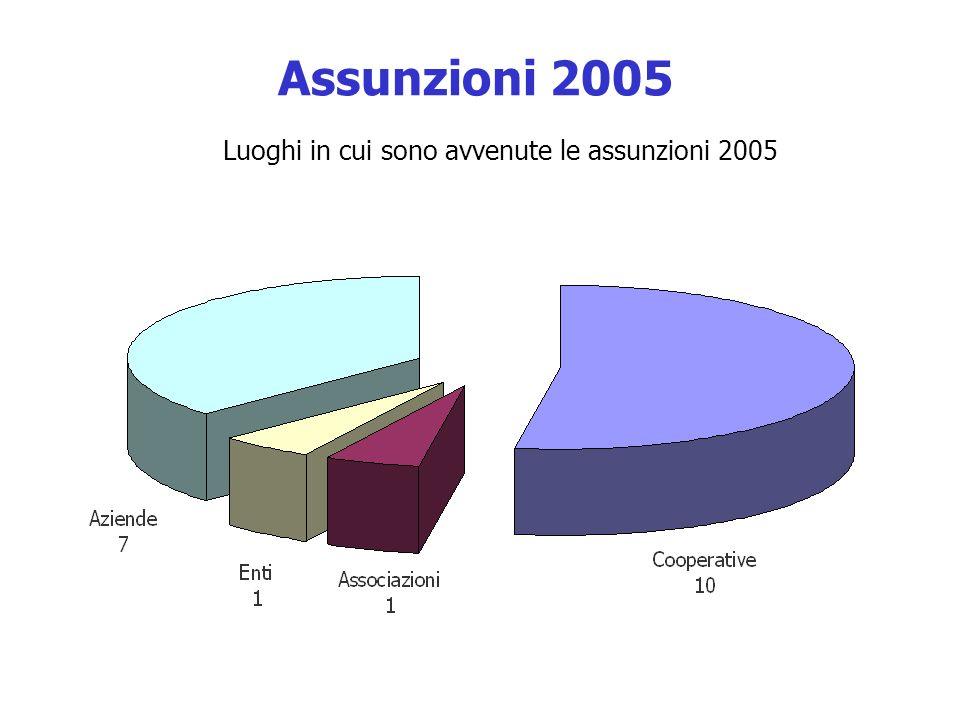 Luoghi in cui sono avvenute le assunzioni 2005