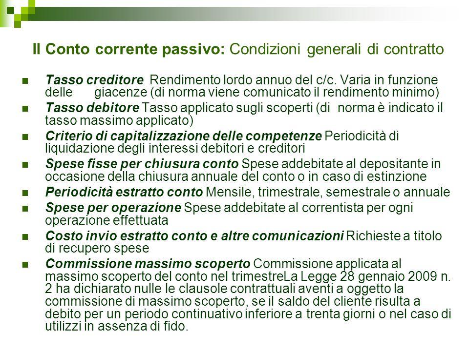 Il Conto corrente passivo: Condizioni generali di contratto