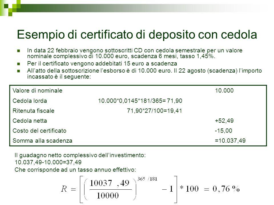 Esempio di certificato di deposito con cedola