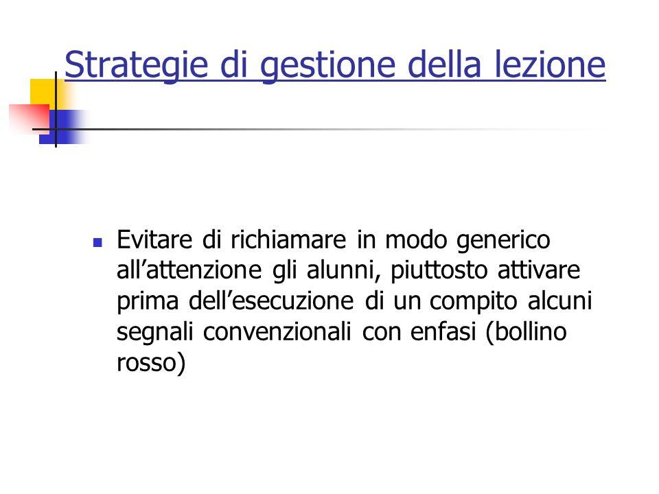 Strategie di gestione della lezione