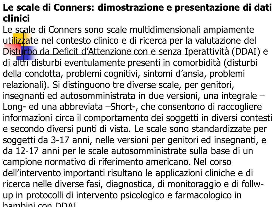 Le scale di Conners: dimostrazione e presentazione di dati clinici