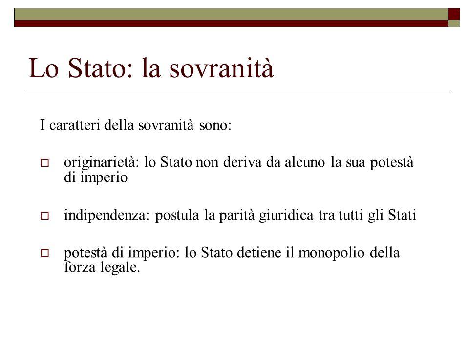 Lo Stato: la sovranità I caratteri della sovranità sono: