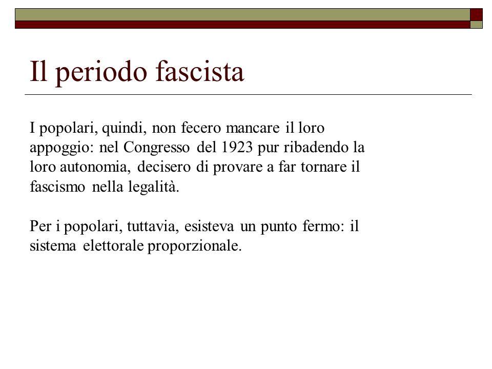 Il periodo fascista I popolari, quindi, non fecero mancare il loro