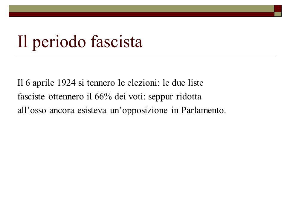 Il periodo fascista Il 6 aprile 1924 si tennero le elezioni: le due liste. fasciste ottennero il 66% dei voti: seppur ridotta.