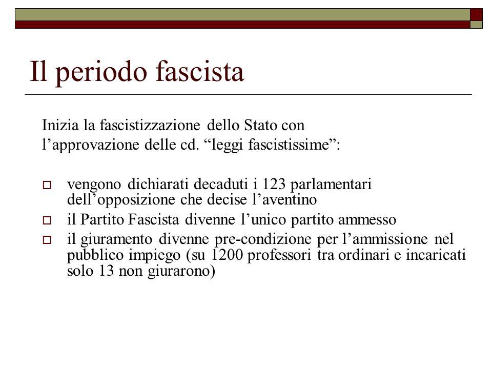 Il periodo fascista Inizia la fascistizzazione dello Stato con