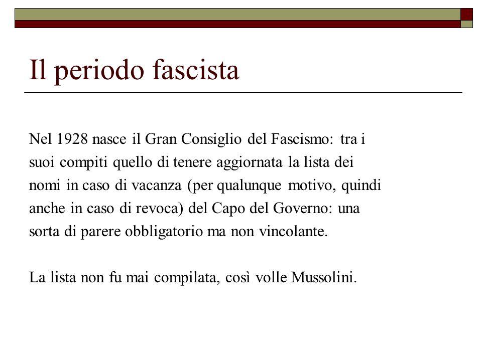 Il periodo fascista Nel 1928 nasce il Gran Consiglio del Fascismo: tra i. suoi compiti quello di tenere aggiornata la lista dei.