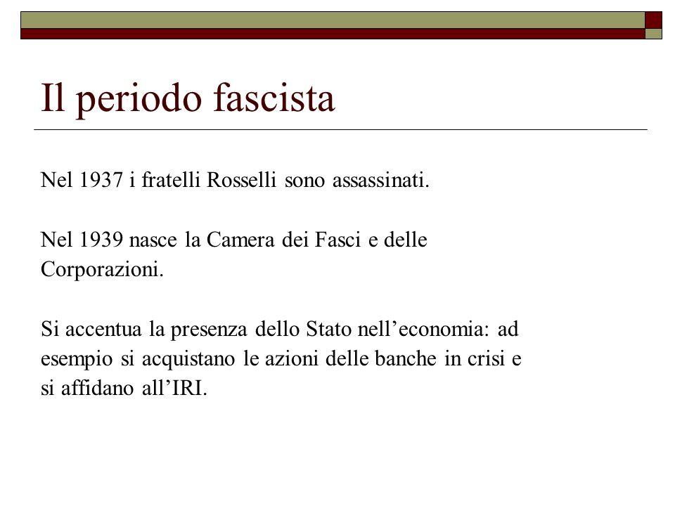 Il periodo fascista Nel 1937 i fratelli Rosselli sono assassinati.