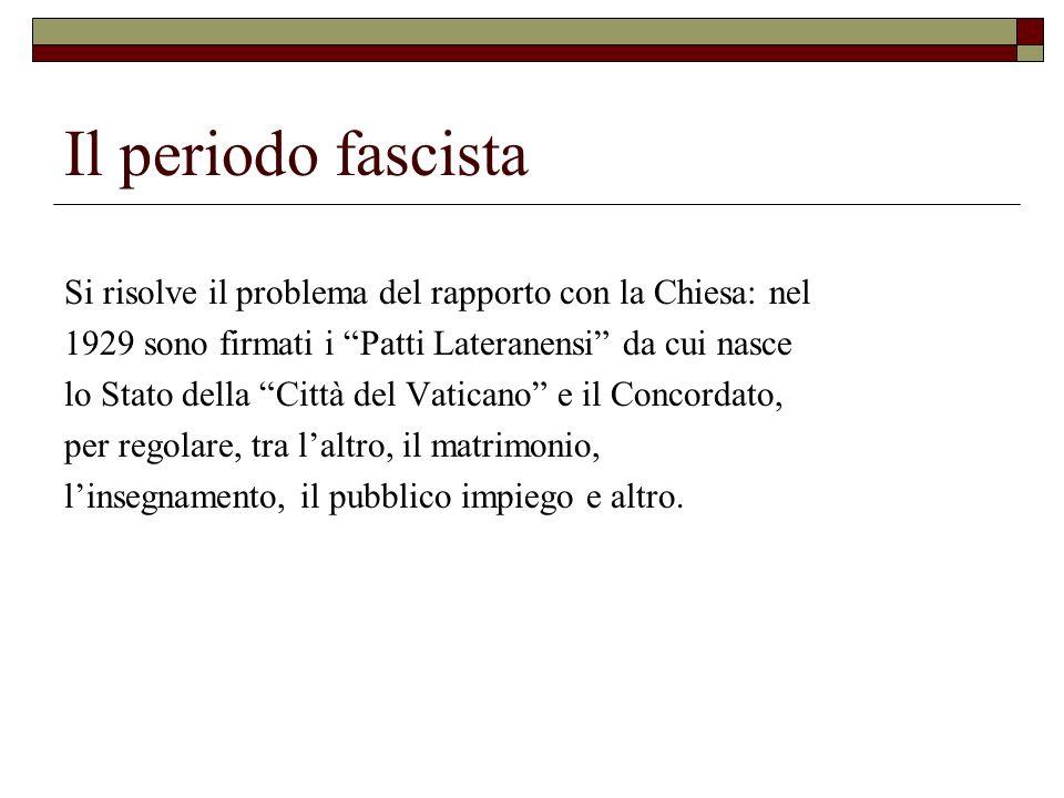 Il periodo fascista Si risolve il problema del rapporto con la Chiesa: nel. 1929 sono firmati i Patti Lateranensi da cui nasce.