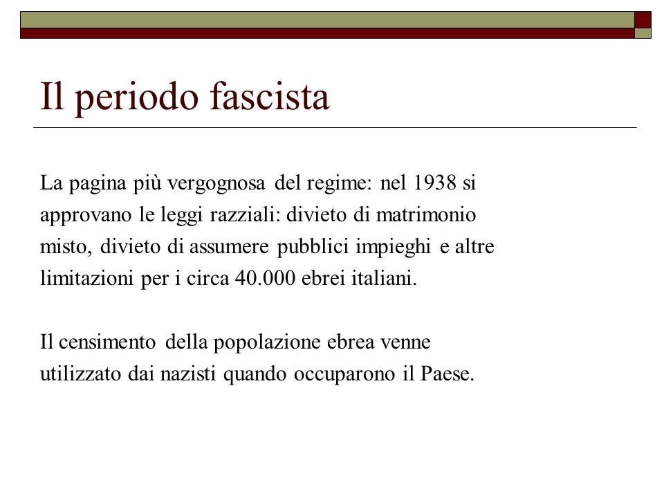 Il periodo fascista La pagina più vergognosa del regime: nel 1938 si