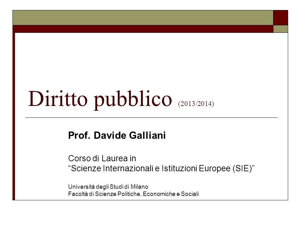 Diritto pubblico (2013/2014) Prof. Davide Galliani Corso di Laurea in