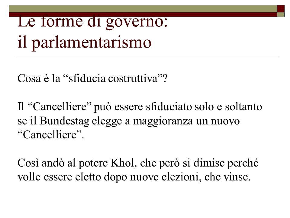 Le forme di governo: il parlamentarismo