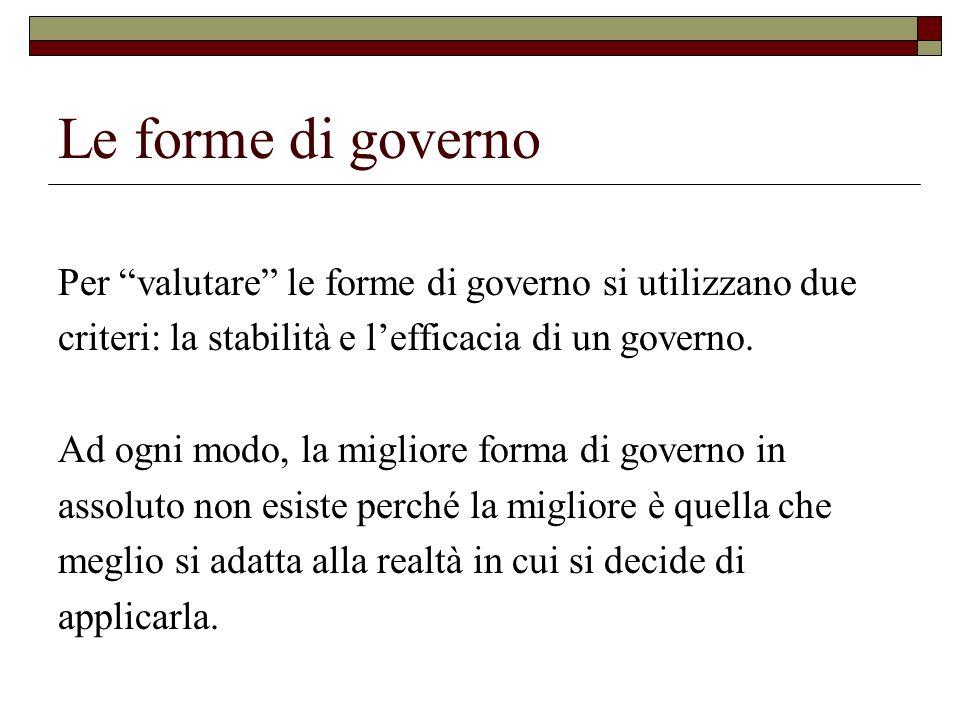 Le forme di governo Per valutare le forme di governo si utilizzano due. criteri: la stabilità e l'efficacia di un governo.