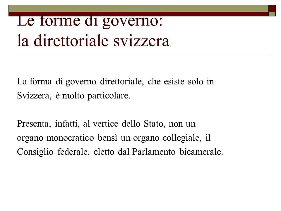 Le forme di governo: la direttoriale svizzera