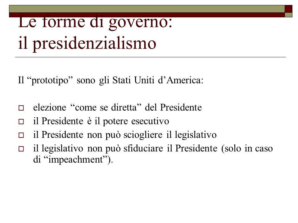 Le forme di governo: il presidenzialismo