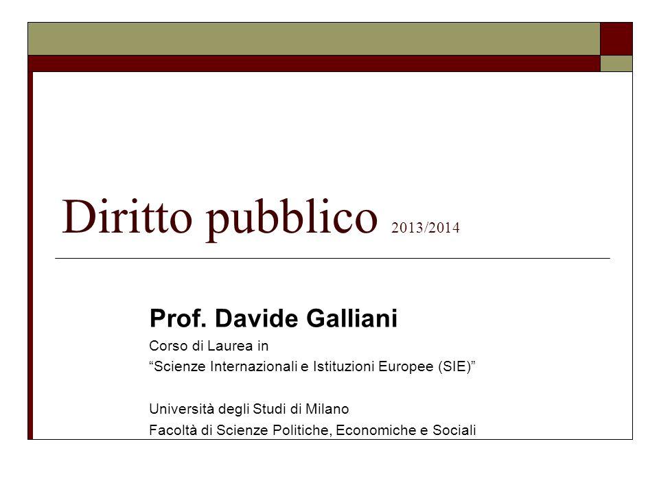 Diritto pubblico 2013/2014 Prof. Davide Galliani Corso di Laurea in
