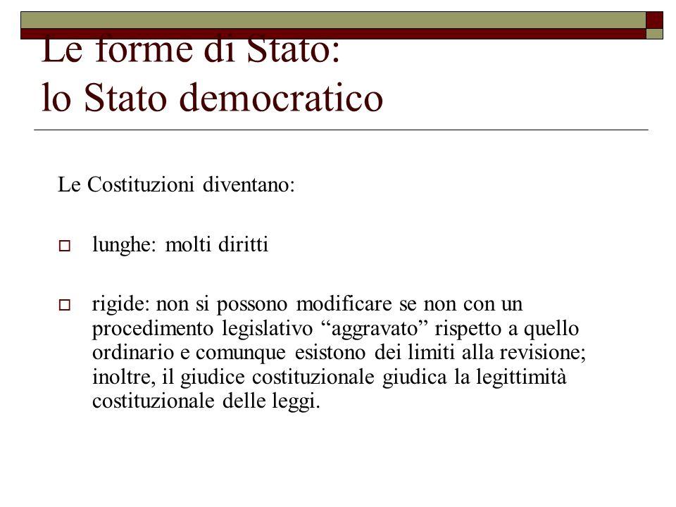 Le forme di Stato: lo Stato democratico