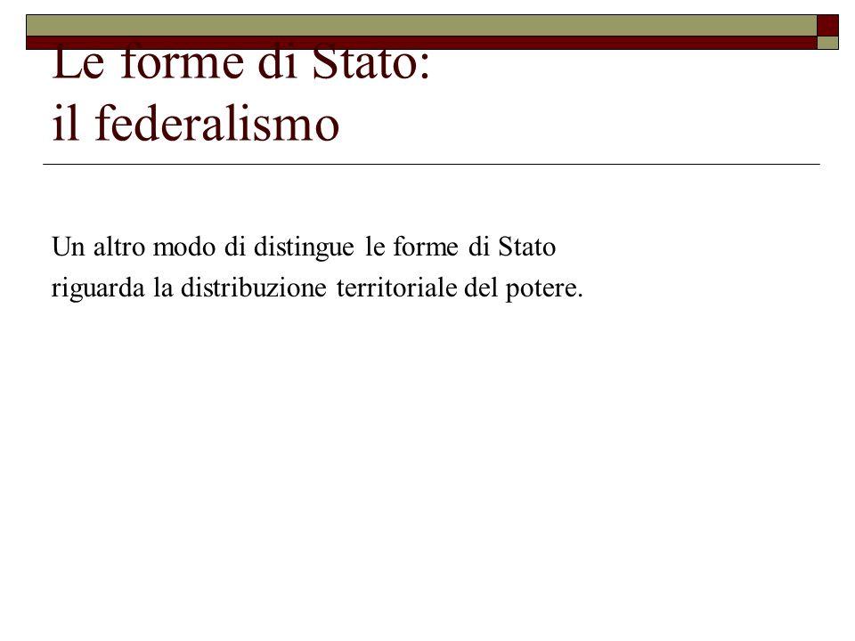 Le forme di Stato: il federalismo