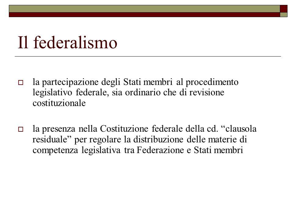 Il federalismo la partecipazione degli Stati membri al procedimento legislativo federale, sia ordinario che di revisione costituzionale.