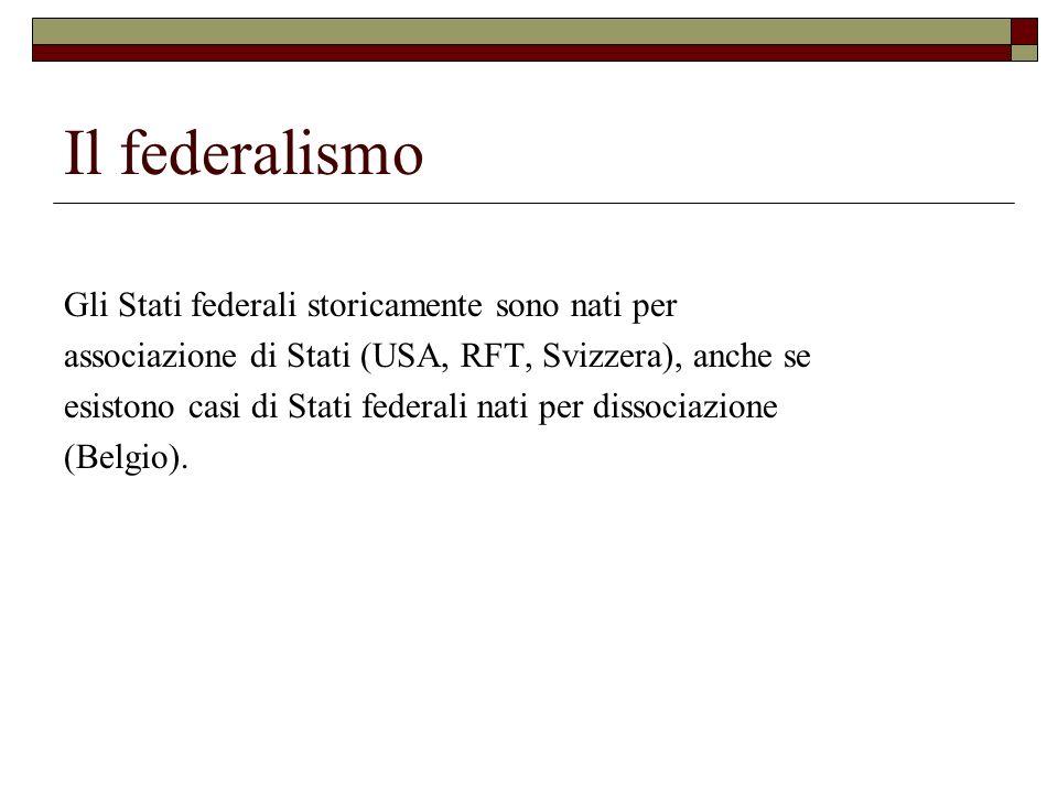 Il federalismo Gli Stati federali storicamente sono nati per