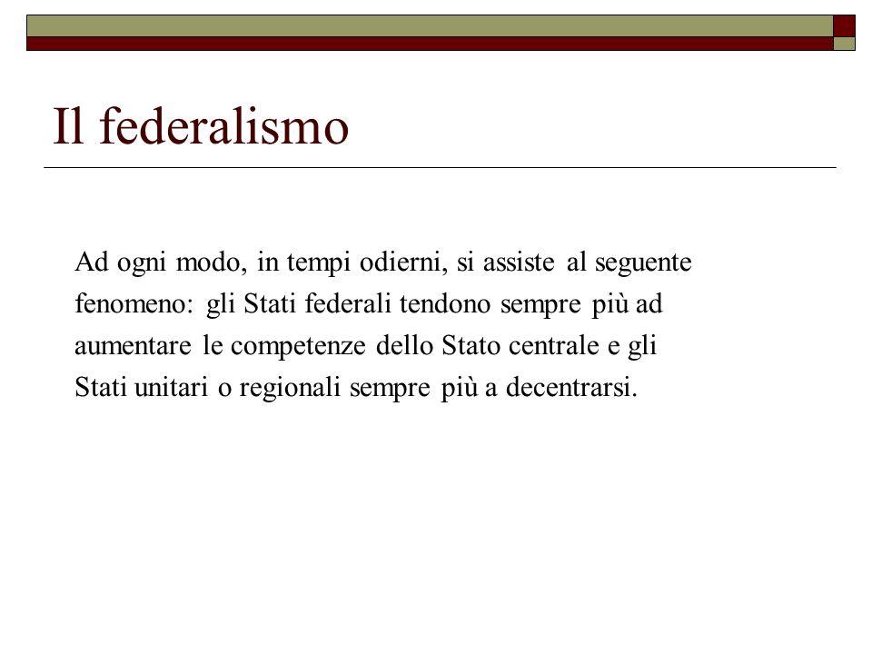 Il federalismo Ad ogni modo, in tempi odierni, si assiste al seguente