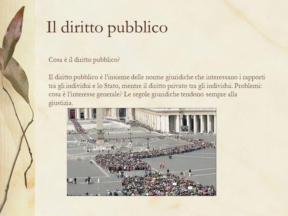 Il diritto pubblico Cosa è il diritto pubblico