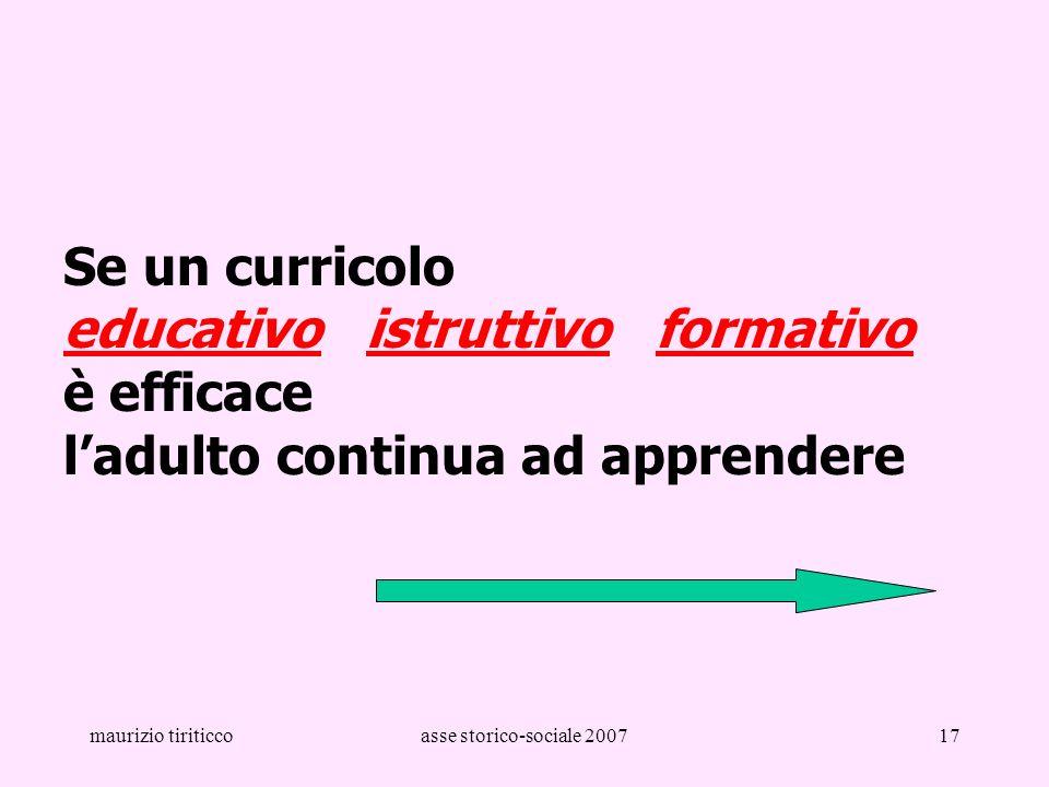 Se un curricolo educativo istruttivo formativo è efficace l'adulto continua ad apprendere