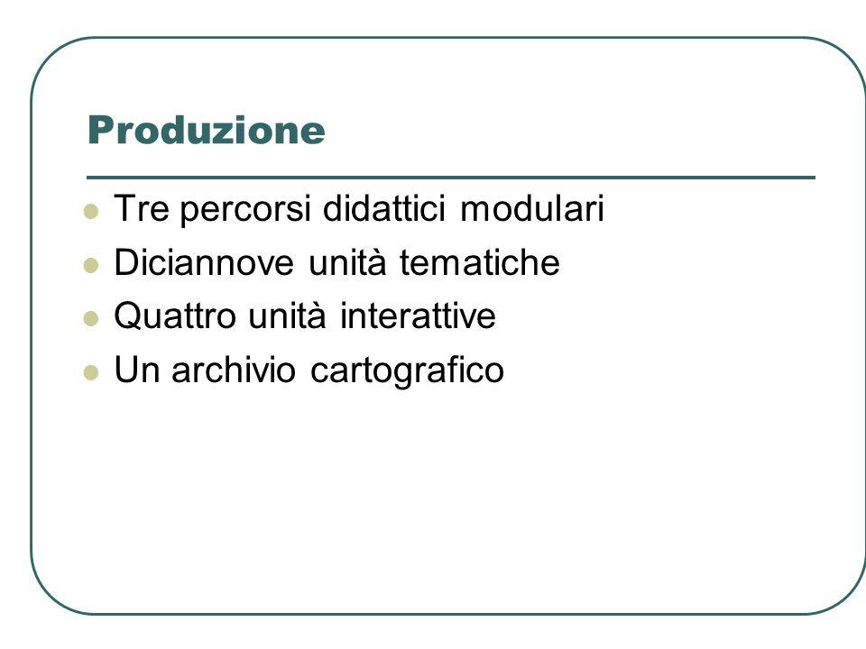Produzione Tre percorsi didattici modulari Diciannove unità tematiche