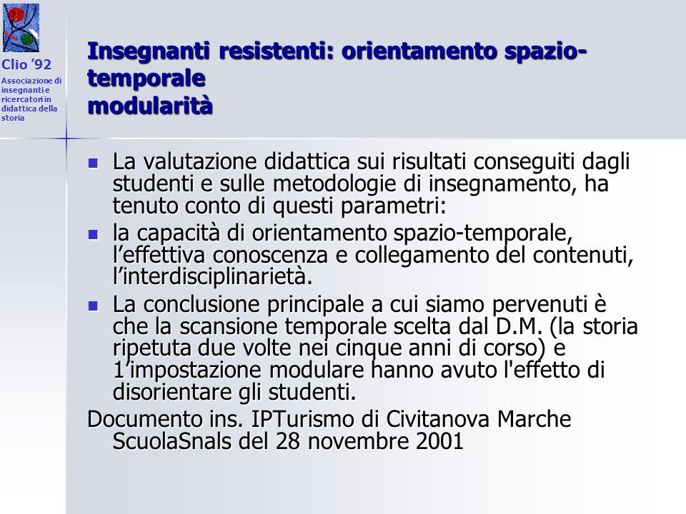 Insegnanti resistenti: orientamento spazio-temporale modularità